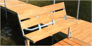Cedar dock bench for the FeatherLite dock system.