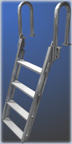 The 20° slanted ladder makes it easy to get out of the water. This ladder is designed for the DuraLite aluminum dock.