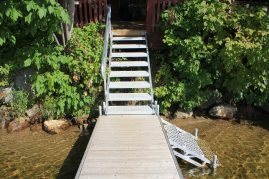 Dock stairs from shore and to water