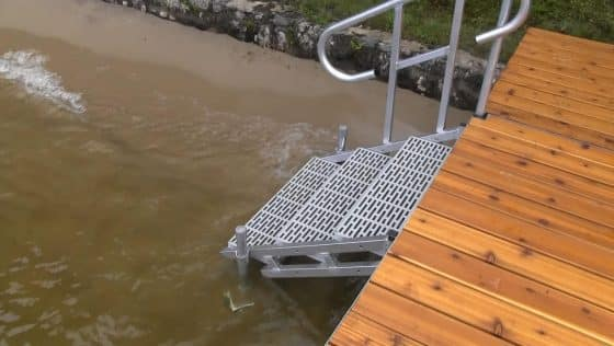 Aluminum Dock Stairs (3 Step with hand rail)