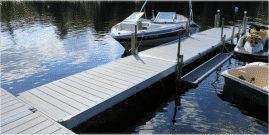 DuraLite docks with gray synthetic decking and accessories.
