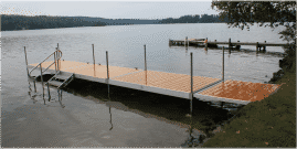 DuraLite docks with a ramp and aluminum frame stairs.
