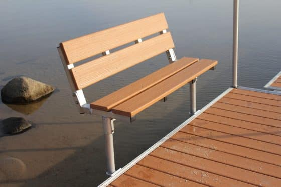 4' Folding Bench For DuraLITE Aluminum Docks, 9569PD w/ Lumberock $406