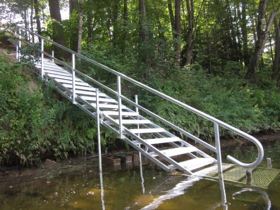 Stairs for water access.