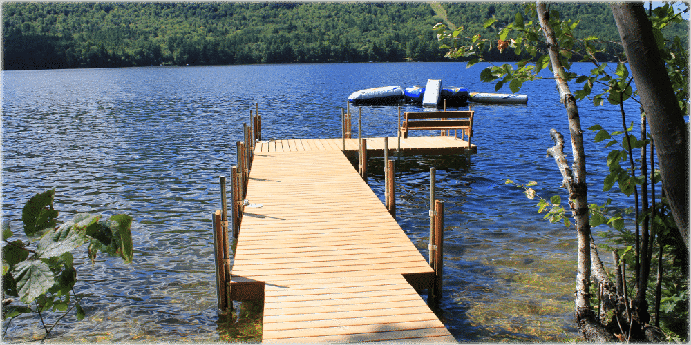 Photo gallery stationary wood docks boat docks for Small pond dock plans