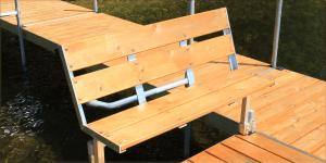 Cedar dock bench for the FeatherLite dock system.