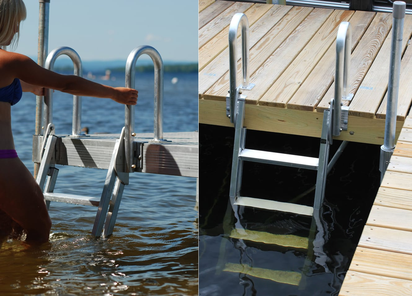 Dock Ladder Aluminum 20 186 Slanted 9079w With Wood Dock