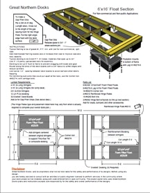 Floating Dock Section Plan 6'x16'