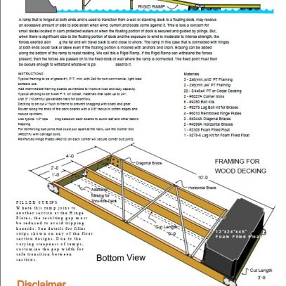 Rigid Ramp Floating Dock Section Plan 4'x10'