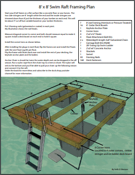 Swim Raft Floating Dock Plan 8′ x 8′