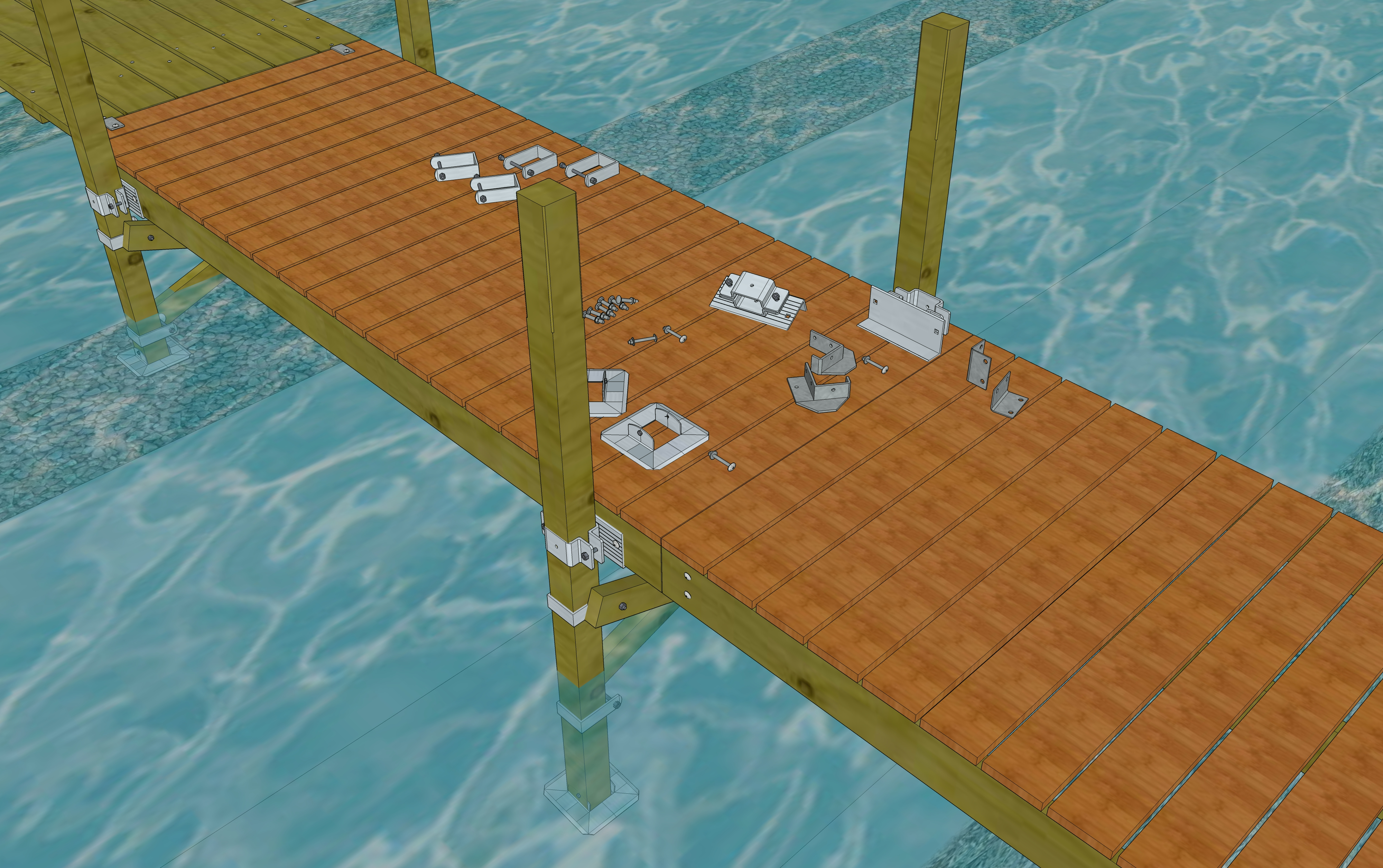 Dock Post 4x4 Support Hardware